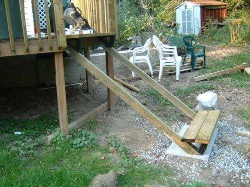 deck stair tread installed