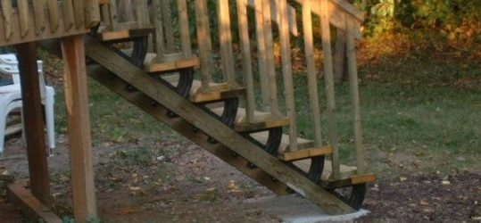 Installing new deck stairs