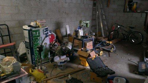 basement clutter