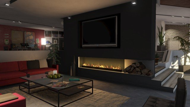 modern fireplace and tv