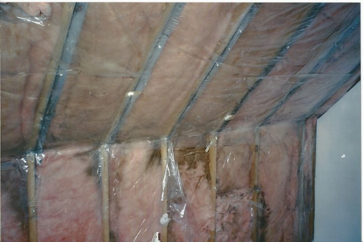 damaged insulation and vapor barrier