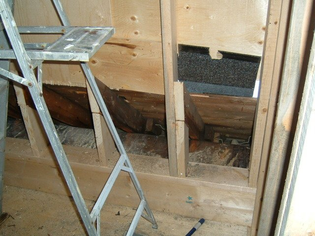 air conditioning duct behind dormer wall.