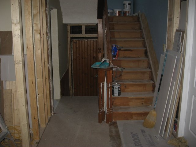 front hallway construction zone