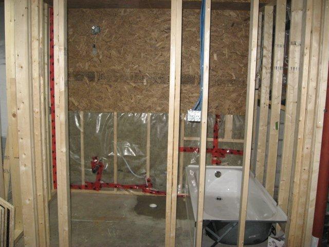 framing the bathroom walls