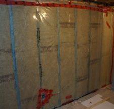 basement wall framed with BluWood