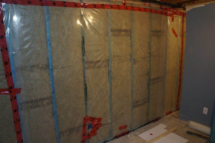 basement wall framed with BluWood